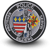 City, municipal police embroidery patche beziers